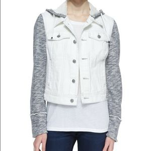 Free People Knit Hooded White Denim Jacket, Small